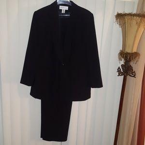 Plus Size Navy Blue Pinstripe Pant Suit-16W